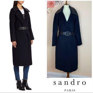 New SANDRO Paris Linna Wool Leather Belt Wrap Coat